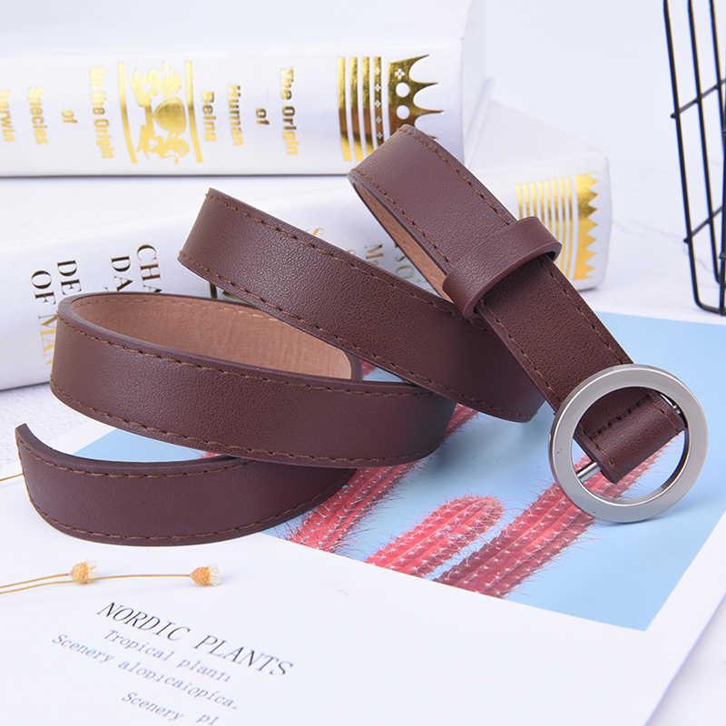 1PC Goud Zilver Ronde Metalen Cirkel Riem Vrouwelijke Wit Zwart Wit Bruin PU Lederen Taille Riemen voor Vrouwen Jeans broek Voor Meisjes