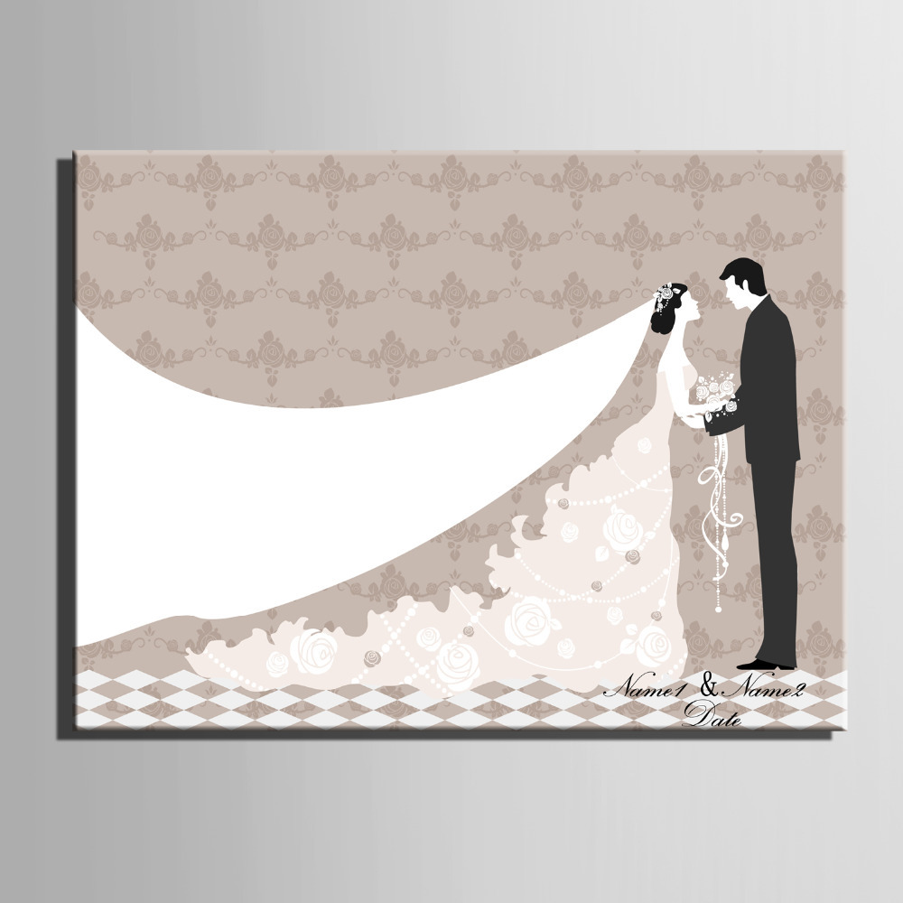 Fingerprint Tree Signature Canvas Painting Bride Groom Wedding Gift