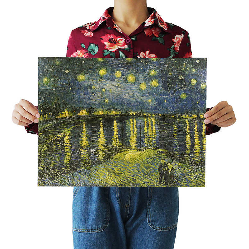DLKKLB Retro Kraft Paper Poster Van Gogh Starry Night Over The Rhone Home Decorative Painting Wall Sticker 36X47CM