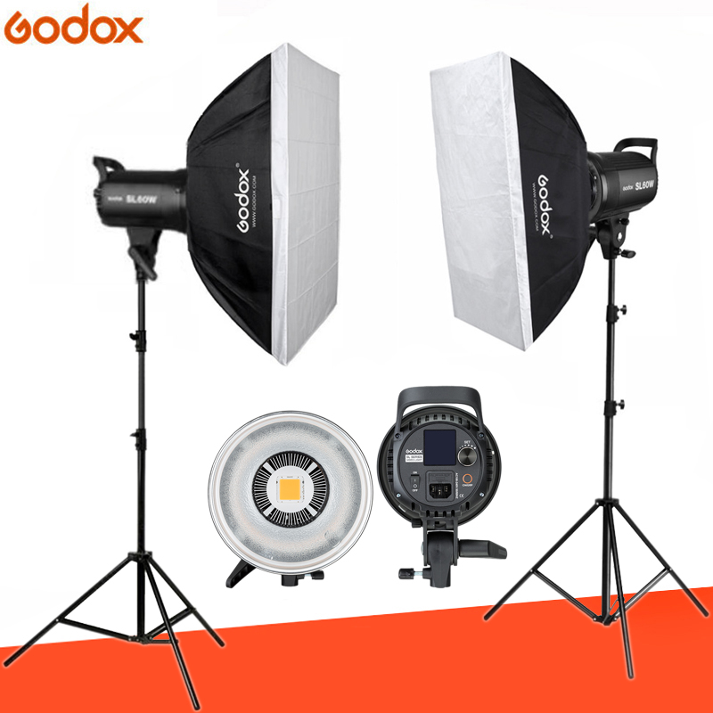 2pcs x Godox SL-60W CRI 95+ LED Video Light Kit SL60W 5600K + 60x90cm Softbox + 2.8m Stand + Remote Controller + Reflector2pcs x Godox SL-60W CRI 95+ LED Video Light Kit SL60W 5600K + 60x90cm Softbox + 2.8m Stand + Remote Controller + Reflector