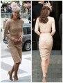 Кейт миддлтон красивые кружева мать свадебные ну вечеринку платья с длинным рукавом оболочка совок длиной до колен вечерние платья знаменитостей 2014 K17