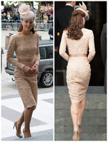 Kate Middleton Beautiful Lace Mother Wedding Party Gowns Long Sleeve Sheath Scoop Knee Length Evening Celebrity