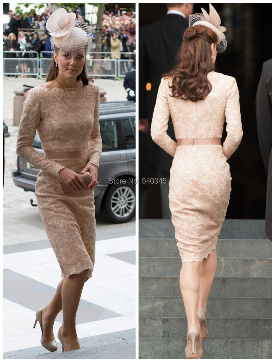 Kate Middleton belle dentelle mère de mariée parti robes à manches longues gaine Scoop genou longueur de soirée robes de célébrités 2014 K17