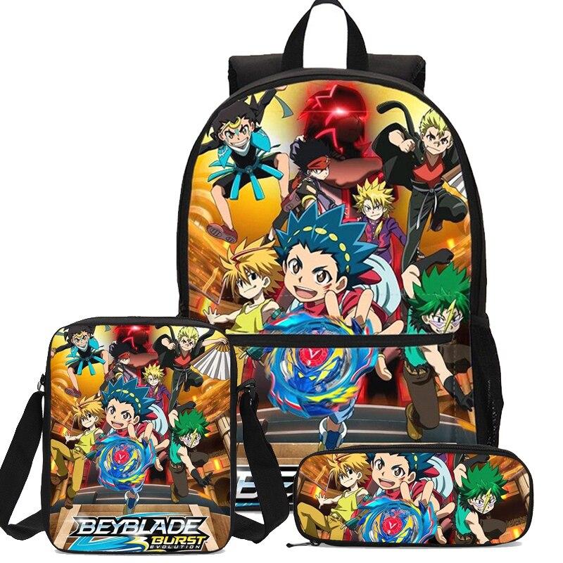 Cartoon Beyblade Burst jeu impression 3D 3 pièces/ensemble étudiants sac à dos sac à crayons hommes sacs d'école pour filles garçons enfants sac à dos