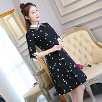 Fashion Black Chinese Women S Mini Cheongsam New Arrival Short Style Dress Qipao Spring Autumn Vestidos