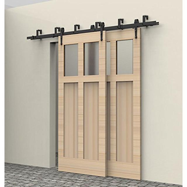 5 8FT Rustic Interior Doors Bypass Sliding Barn Wood Door Hardware Steel  Arrow Country Style