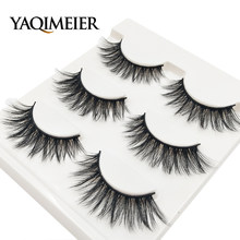 YAQIMEIER 3d False Eyelashes Hot 3D15 Handmade Faux Mink Lashes Charming Long / Messy /Thick /Cross Lashes Women Makeup & Beauty(China)