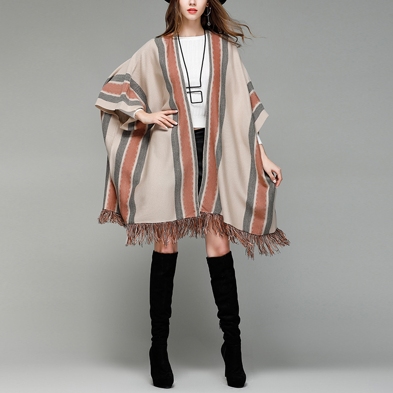 DSQUAENHD New Fashion Tassel Ponchos for Women Winter Batwing Sleeve Long Capes Coats Casual Loose Striped Cardigans Ponchos