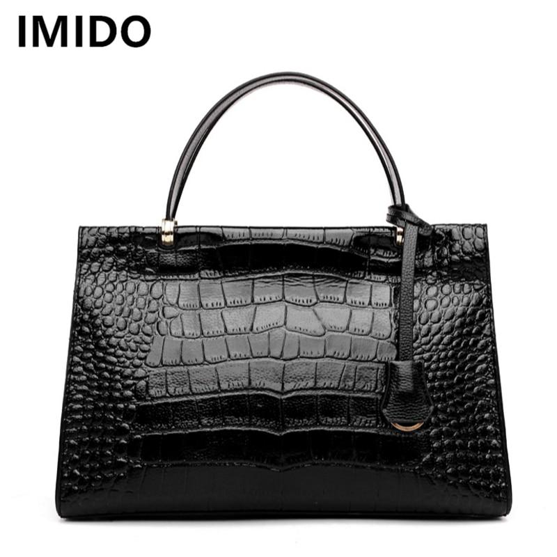 207002afd9ee IMIDO 2018 European And American Saffiano Handbags Fashion Women Bags  Alligator Women Messenger Bag OL Business Style Hand Bag