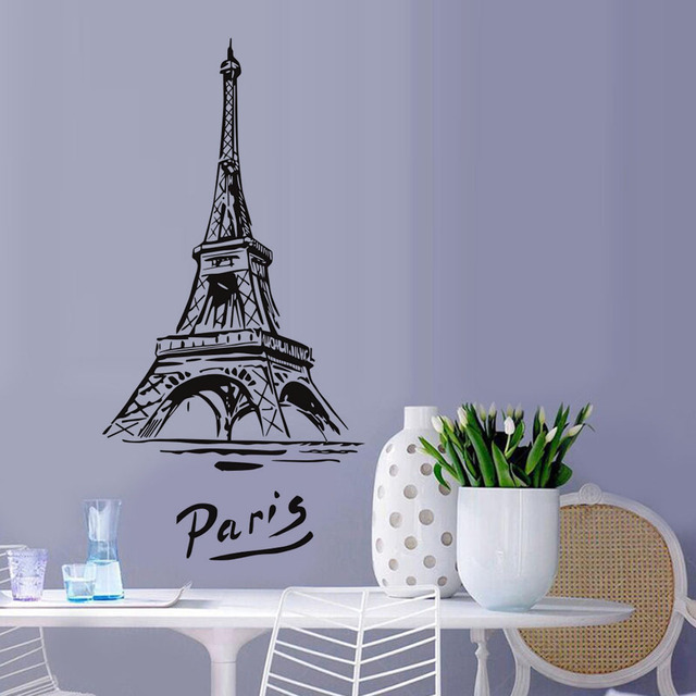 DCTOP Beautiful Romantic City Paris Wall Stickers Eiffel Tower Vinyl  Adhesive Diy Art Wall Murals Removable