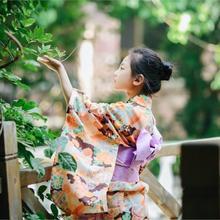 2019 new yellow japanese kimono child warrior traditional swordmen yukata kid stage performance clothing girls kimono robe
