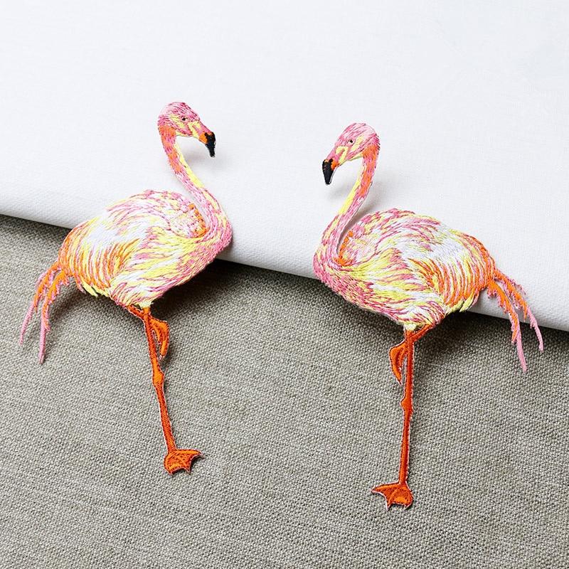1 db nagy méretű flamingókkal hímzett, rátétes varrás vagy - Művészet, kézművesség és varrás