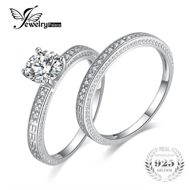 JewelryPalace Vintage 13ct Anniversary Wedding Band Engagement Ring Bridal Sets 925 Sterling Silver Fine Jewelry