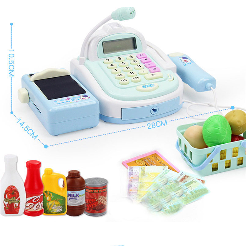 Mini Simulation Supermarket Cashier Cash Register Toy Checkout Counter Foods Goods Kids Toy Pretend Play House Toys For Girls 6
