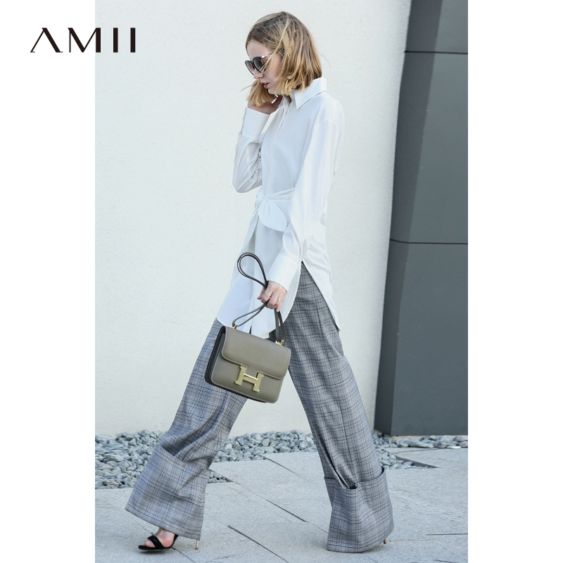 Amii Office Shirts Women Spring 2019 Elegant Solid Bow Lace Up Long Sleeve Asymmetrical 100% Cotton Female Blouse Shirts-in Blouses & Shirts from Women's Clothing    3