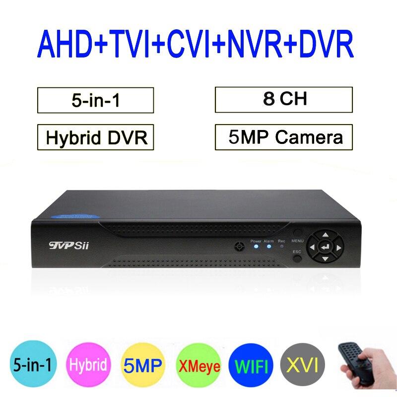 XMeye Hi3531A 8CH 8 Canal 5MP Hybride Coaxial WIFI 6 dans 1 XVI TVI CVI NVR AHD CCTV DVR Surveillance vidéo Enregistreur Livraison Gratuite