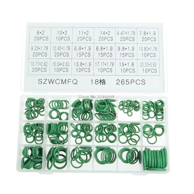 For 265Pcs Car A/C R134a System Air Conditioning O Ring Seals Washer Assorted Promotion