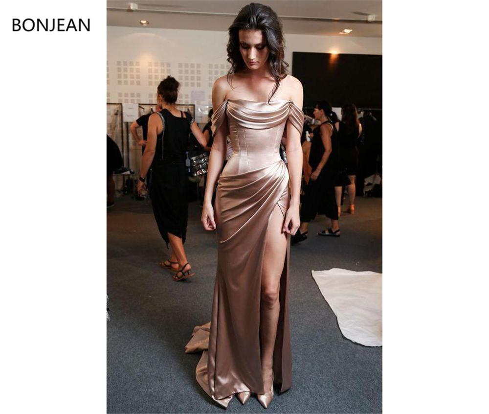 Sexy 2019 Mermaid Evening Dresses Long Rose Gold Elastic Silk Like Satin Off Shoulder Neck Sheath Side Split Formal Evening Gown