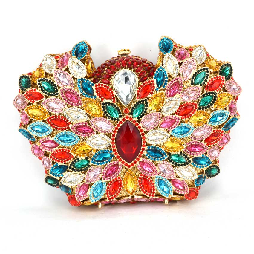 купить Famous Brand Women Full Crystal Evening Clutches Bags Chains Shoulder Handbags Bridal Wedding Party Metal Clutch Purse недорого