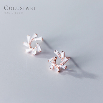 Modian Elegant Snowflake Rectangle Clear Zirconia Stud Earrings Fashion 925 Sterling Silver Rose Gold Color Jewelry For Women