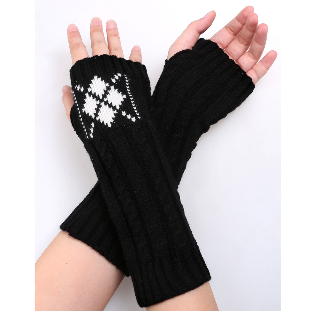 Women 2017 Winter Keep Warm Decoration Arm Warmers Half Finger ...