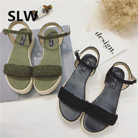 Buckle Solid Color sandals flower shoes Kid Suede fur heels schoenen wedges toe creeper Retro Ethnic all match Casual korean
