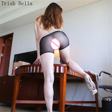Net yarn Ultrathin transparent Pure color Tighten seamless erotic sexy costumes chastity crotchless panties lenceria femenina