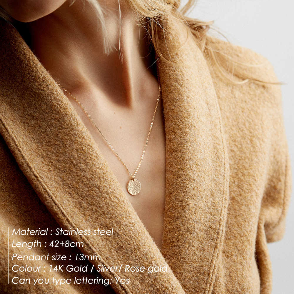 CC Stainless Steel Necklace For Women Long Layered Pendant Necklaces Gold Silver Color Fashion Jewelry Korean Style Women