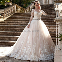 Ball Gown Wedding Dresses Scoop Long Sleeves Lace Appliques Beading Sashes Button Wedding Bridal Gown Vestido De Noiva Plus Size