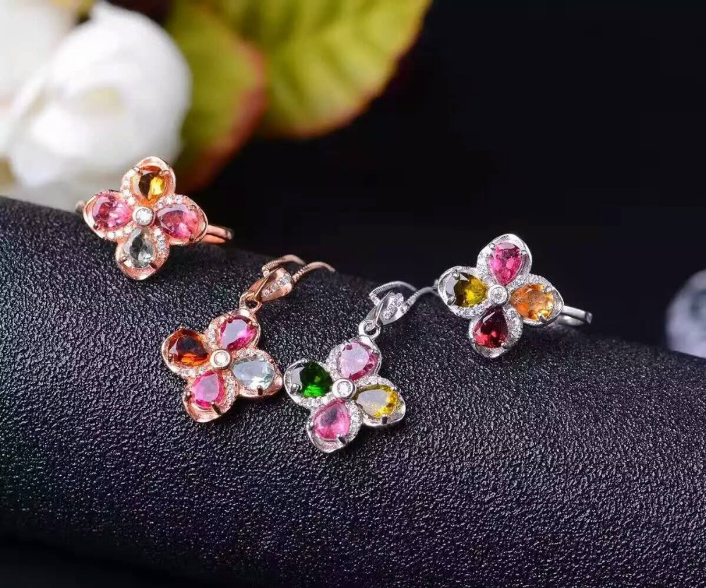 Natural Multicolor tourmaline jewelry sets natural gemstone ring Pendant 925 silver Stylish Elegant Clover women party