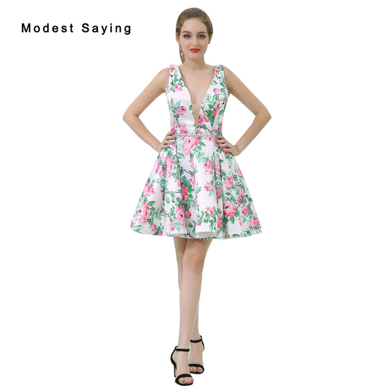 Sexy Green A-line Beaded Floral Print Short   Cocktail     Dresses   2017 Girls Mini Homecoming Prom Gowns vestidos de coctel B056
