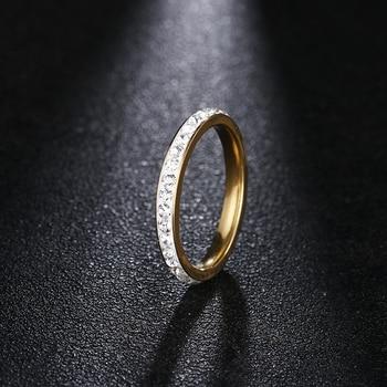 Женские кольца из нержавеющей стали DOTIFI, серебряное/Золотое кольцо с кристаллом для помолвки и свадьбы