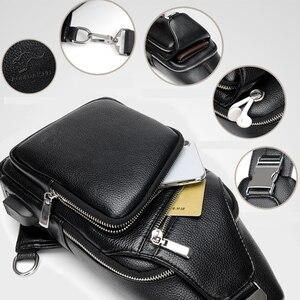 Image 4 - 2019 Jackkevin Mode Heren Schoudertas Inbraakpreventie Zwart Lederen Heren Borst Zak USB Opladen Crossbody Tassen Reistas