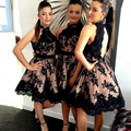 2017 New High Nek Black Lace Bridesmaid Dresses Open Back Short Lace Bridesmaid Dress A Line Knee Length Wedding Party Gowns