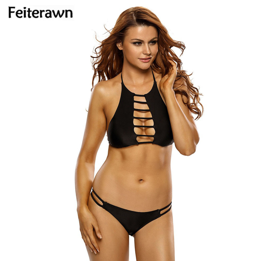 Feiterawn 2017 Black Strappy Cutout Bikini Set Biquinis Halter Two Piece Swimsuit Women Swimwear maillot de bain femme DL41651 new sexy swimwear women bikini set halter unpadded bra tankini two piece high neck print swimsuit bikini 2017 maillot de bain