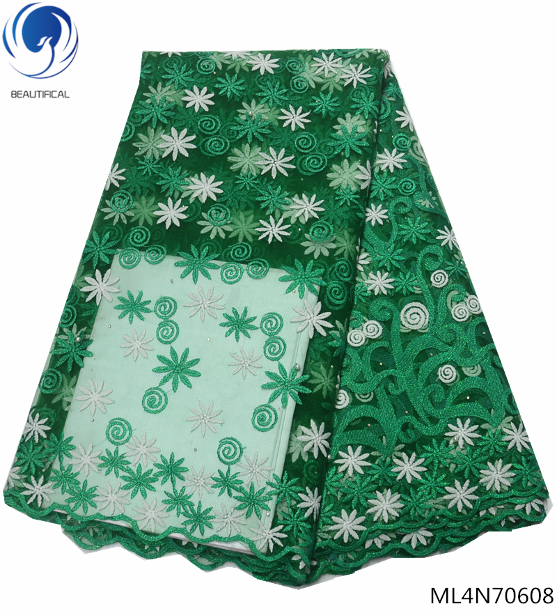 BEAUTIFICAL green lace african fabric african tulle lace fabric latest nigerian laces wedding dress fabric free shipping ML4N706 in Lace from Home Garden