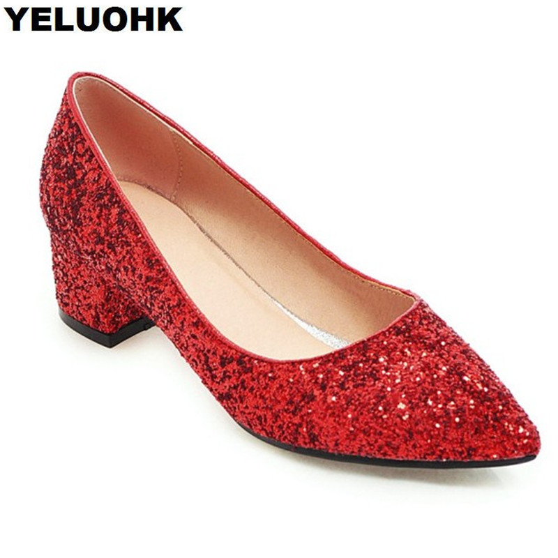 Large Size 43 Glitter Shoes Women High Heels Fashion Pointed Toe Ladies Shoes Pumps Low Heel Sexy Female Shoes