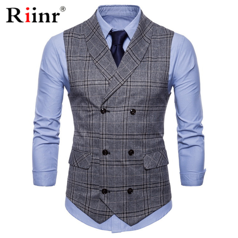 Mens Stripe Plaid Formal Blazer Vests Casual Double Breasted V-neck Fashion M-4XL Male England Style Casual Vests