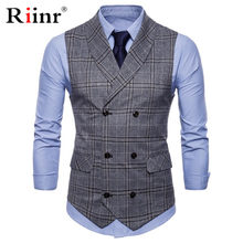 Mens Stripe Plaid Formal Blazer vests Casual Double Breasted V-neck Fashion M-4XL Male England Style Casual Vests(China)
