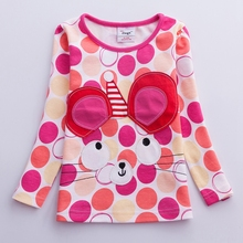 Girls T-shirt long-sleeved girls flower embroidered cat t-shirt autumn winter blouse childrens patchwork G649