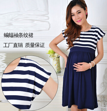fa859d0683342 New Women Long Maternity Dresses for Pregnant Women Loose Clothing Maternity  Fashion Stripe Home Cotton Mother Clothes Navy Blue
