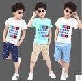 Crianças meninos curto-de mangas compridas terno 2016 novos de verão para crianças de algodão casuais T-shirt grande virgem pedaço shorts meninos roupas 3-15 anos 10