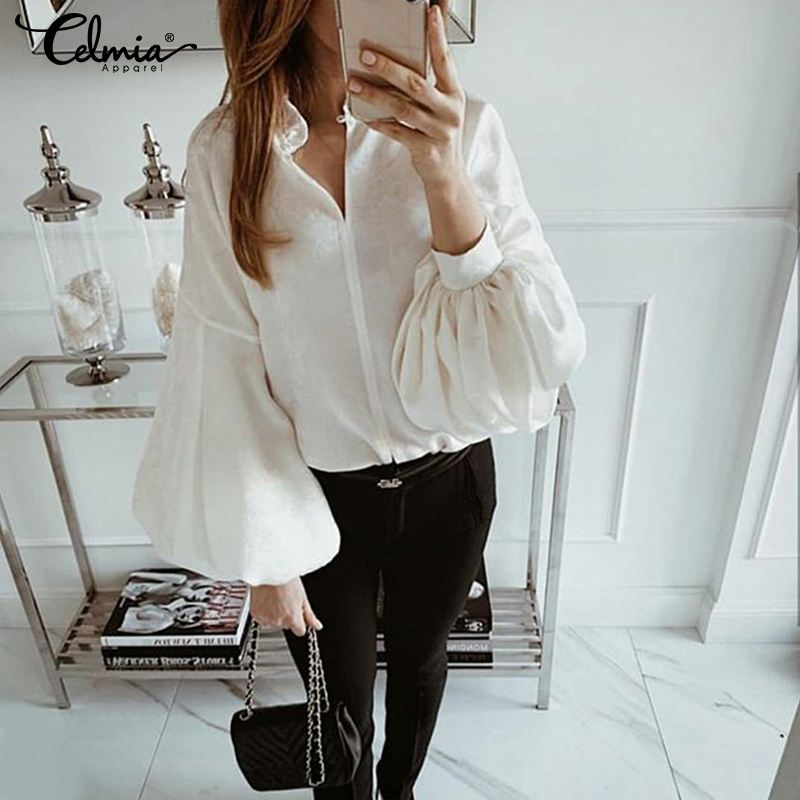 Plus Size 2019 Celmia Women Sexy V Neck Blouse Long Lantern Sleeve Buttons Office Shirts Casual Loose Blusas Feminina Chic Tops