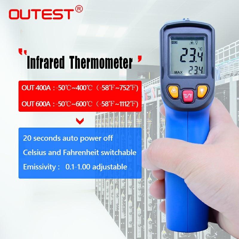 Nuovo aggiornamento laser termometro Digitale UT400A/UT600A-50 ~ 400C/600C VS GM320 senza contatto termometro a infrarossi IR Laser Pistola del Punto