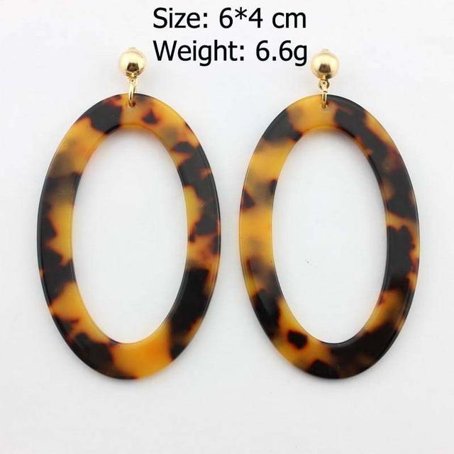 Большие Акриловые леопардовые овальные массивные серьги для