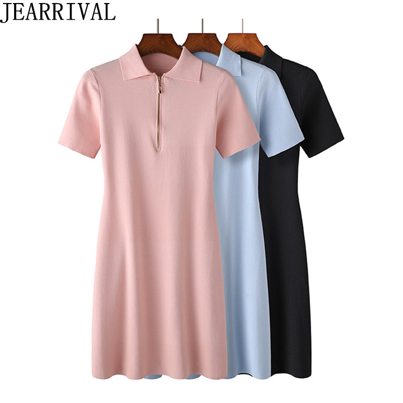 2018 New Women Summer Dress Fashion Solid Color Short Sleeve Peter pan Collar Soft Thin Knitted Office Casual Dress Vestidos
