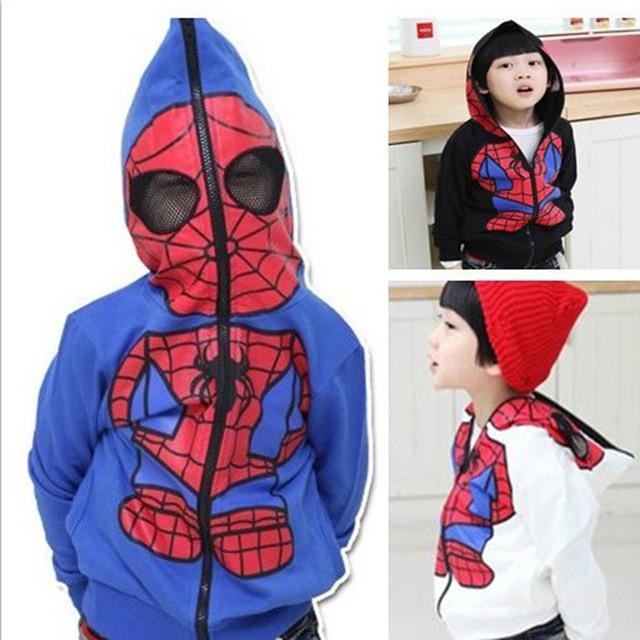 Ocasional del Algodón Muchachas de Los Muchachos de Spiderman Con Capucha de Cosplay Traje de Halloween Navidad Niños Ropa de la Camiseta de la Historieta Niños TZ12