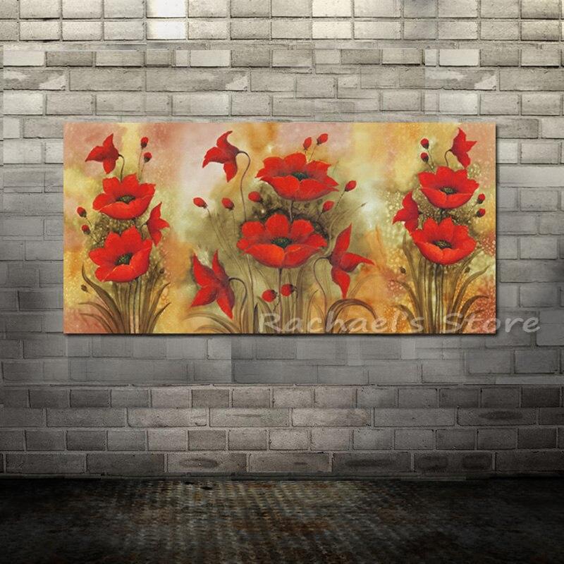ᐅpeint A La Main Rouge Pavot Toile Acrylique Peinture A L Huile