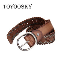 TOYOOSKY Women Black Cowskin Western Hollowing Out Waist Belt Pin Buckle Waistband New Hot Belts for Luxury Designer Brand
