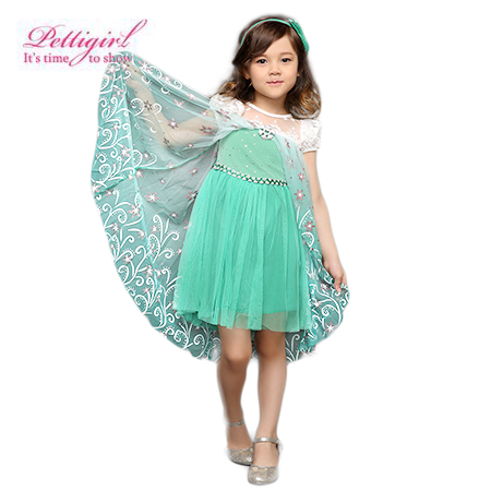 Pettigirl Cosplay Costume Flower-Cape Party-Dress -Elsa Anna Green 2-Get 1-Free Puff-Sleeve